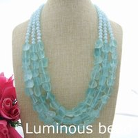 FC060502 3 Strands 24 '' - 28 '' Голубое стекло Rough Nugget Crystal Necklace FC052201 50