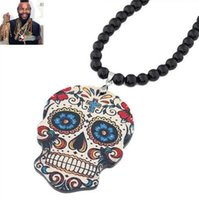 Punk Squelette Cartoon Collier Skull Black Acrylic Beads Wholesale Sweater Chaîne Fashion Men Pendentif Collier Pendentifs Bijoux