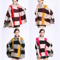 Wholesale Vintage Crochet Cape - 2017 Fashion Women Vintage Cape Coat With Batwing Sleeve Pullove Shawl For Winter And Autumn Free Size With 4 Colors