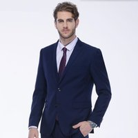 Wholesale best wedding dresses for groom for sale - New arrival men suits fashion wedding suits tuxedos for men blue high quality groom best man prom dress suits jacket pants