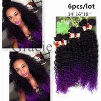 Wholesale Synthetic Peruvian Weave - Ombre purple kinky curly freetress hair Synthetic hair extenisons Peruvian curly deep wave6pcs lot kinky Curly weave bundles For Black Women