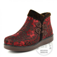 Wholesale Chinese Boots Flowers - Cotton Fabric Floral Handmade Shoes Women Flowers Soft Leather Shoe Chinese National Shoes Woman Chinese Frog Warm Indoor