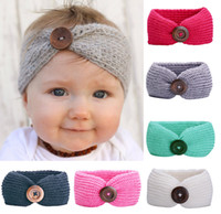 Wholesale Fashion Photographs - 6 color Baby Bohemia Turban Knitted Headbands Fashion protect Ear Bow Headwear Girl Hair Accessories Photograph props Buttons