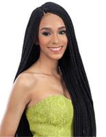 natürliche perruque lange haare großhandel-Micro Braid Lace Perücken nach Brasilien BOLETO Brasilianisches Haar Perücken geflochtene Lace Front Perücke 22-Zoll-Box Zöpfe schwarz synthetische Perücken für schwarze Frauen