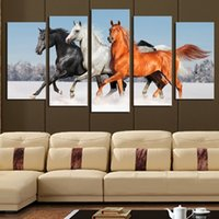 Wholesale Horse Art Canvas Set - 5pcs set Unframed Running horses Canvas Paintings Aniaml Wall Decor Giclee Wall Art for Living Room Home Office Decoration(Size:2 sizes)