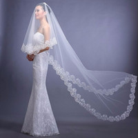Wholesale Wedding Veil Prices - Cheap Price Wedding Accessories 2017 Veu De Noiva White Ivory Cheap Wedding Veil Lace Bridal Veil 3 Meters In Stock CPA091