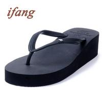 Wholesale Wholesale Wedge Flip Flop Sandals - Wholesale-ifang 2016 Women Top Brand Wedges Flip Flops Women's Sandals Summer Beach Flip Flops Women Lady Summer Shoes Platform Sandals
