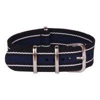 Wholesale Cheap Watchbands - Wholesale- 20 mm Stripe White Black Navy Nato Woven Fiber watchband 20mm Nylon Watch Bracelet Straps Wristwatch Band Buckle Cheap fabric