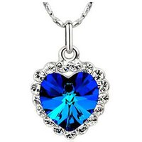 ingrosso collana blu titanica-2017 Titanic Heart Of The Ocean Collana per le donne Nichel Free Classic Crystal Heart Blue Jewelry Daughter Birthday Gift