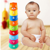 Wholesale Plastic Block Letters - 9pcs Stack up Cups Folding Cup Stacker Toys with Letter and Numbers Baby Kids Educational Toy Building Block Early Intelligence toys