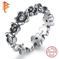 Wholesale Cherry Rings - BELAWANG European Brand 925 Sterling Silver Crystal Ring With Cherry Blossom Stackable Daisy Rings for Women Authentic Jewelry wholesale