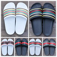 Wholesale Cheap Sole Heels - 2017 Cheap Slide Slippers for Men Striped Sandals With Rubber Sole With Web Rubber Strap Boys Indoor Designer Slides Flip Flops With Box
