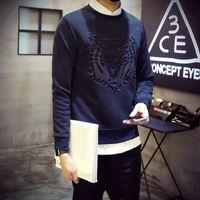 Wholesale tiger 3d sweatshirt men - New Europe Fashion Men's Sweatshirts Long Sleeve 3D Tiger Printed Hoodies O-neck Autumn Winter Tracksuit Top