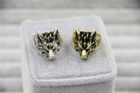 Wholesale Wolf Band Ring - 2015 Fashion Jewely Vintage Charm Wolf Head Ring For Men And Women