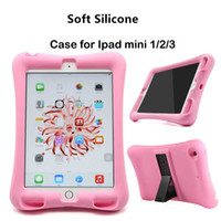Wholesale Kids Ipad Tablet - Soft Silicone Case For iPad Mini 1 2 3 4 5 6 Air Air 2 Shockproof Case with Stand Kids Baby Safe Case for Apple Tablet Silicone Soft Cover