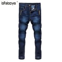 jeans blancos diseñados para hombres al por mayor-Al por mayor-2016 nuevos hombres blancos Blue Jeans Robin Men Jeans Slim Denim Skinny lápiz pantalones Cowboy High Fashion Famous Design