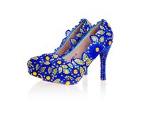 Wholesale Royal Blue Shoes Evening - Royal Blue Sequins Women High Heels Cinderella Shoes Bridal Bridesmaid Shoes Prom Evening Night Club Party Super High Heels
