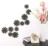 Wholesale Decorative Flowers For Kids Room - 12Pcs Vinyl 3D Removable Decorative Silver Mirror Flowers Wall Stciker For Kids Room Christmas 3D Art Wall Decals Home Decor