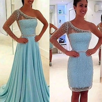 Wholesale Single Sleeve Prom Dresses - High Quality Illusion Single Long Sleeve Prom Dress with Detachable Long Skirt Two Way One Shoulder Sky Blue Occassion Party Dresses Gown