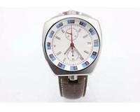 Wholesale Bullhead Brand - Luxury Brand White Dial Brown Leather Belt Bullhe Quartz Master male Chronometer Bullhead Platinum Skeleton Analog RelgioMale Watch G41
