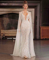 Wholesale Spagetti Strap Wedding Dresses - real photo sexy wedding dresses with cape 2017 berta bridal spagetti strap deep v neck full embellishment sweep train
