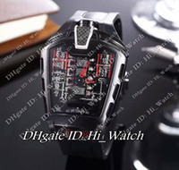 Wholesale Mps Watches - Super Clone Luxury Brand Cheap New Black MP-05 MP05 LaFerrari Masterpiece Skeleton Black Rubber Strap V12 Engine Swiss Quartz Mens Watch 114