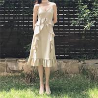 Midi Satin Dress for sale - 2017 summer new fashion elegant temperament solid color satin lotus leaf side sling dress women's skirt