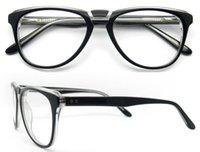 Wholesale Thick Framed Glasses Fashion - Free Shipping Latest Fashion Thick Acetate Men Eyeglasses Frame Spring Hinge Prescription Glasses Frame Oculos de grau Femininos B04068