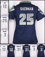 2017 bianco Nuove donne 25 Richard Sherman # 12 ° Fan # 31 Kam Chancellor # 3 Russell Wilson 29 Earl Thomas 88 Jimmy Graham maglie