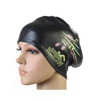 ücretsiz yüzme kapağı toptan satış-Kadınlar Yüzme Kapaklar Silikon Uzun Saç Kızlar Için Su Geçirmez Yüzme Kap Yüzmek Şapka Ile Şapka Kulak Kapak Ücretsiz Kargo