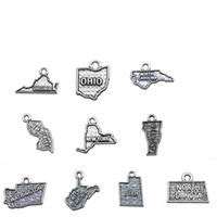 Wholesale North Maps - New Jersey New York North Carolina North Dakota Ohio Utah Vermont Virginia Washington West Virginia State Map Charms Silver Plated Jewelry