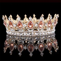 Wholesale Cheap Plastic Crowns - Bridal Champagne Pageant Crowns Elegant Western Crystals Shiny Cheap Jewelry Wedding Hair Accessories Tiara Noiva Rhinestones Baroque Tiaras