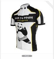 Wholesale Panda Cycling Top - Men cycling jersey 2017 panda riding bike clothing bicycle wear short sleeve black white jersey de MTB road bike wear