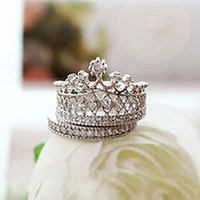 Wholesale jewelry crown price - Lowest Price Women's Crown Statement Ring 2 Band Stack Rhinestone Alloy Jewelry Gift Golden 96CJ