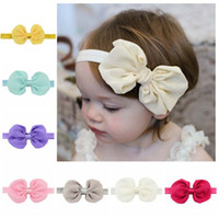 Wholesale Diy Bowknot Chiffon - 12 Colors Chiffon Bowknot Baby Girls Headbands Elastic Hair Bands Infant Kids Headbands Bow Band Best Friend Holiday DIY Gift