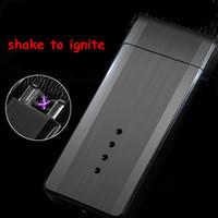 Wholesale Light Cigarette Lighter Rechargeable - metal smart usb double arc pulse shake to ignite lighter with rechargeable electronic light indication