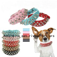 Hot Sale Fashion Pu Leather Studded Round Spikes et Small MushRoom Dog Pet Collar BullDog Collier 6 Couleurs 5pcs / Lot