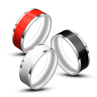Wholesale Signet Silver - Mens Womens Pinky Ring Stainless Steel simple Rings Silver-color Black Signet Polished Biker Bague Party Jewelry Anillos