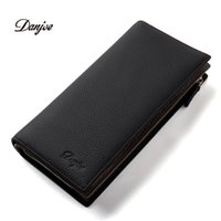 Wholesale First Coins - Wholesale- DANJUE New Arrival Men Wallets Long Genuine Leather Brand Big Capacity Purse First Layer Cowhide Man Day Clutches Bag