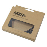 mobile phone paper box package UK - DHL 300Pcs  Lot Event Mobile Phone USB Cable Kraft Paper Packaging Box Clear Window Data Line Earphone Package Box For iPhone 6