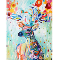 Wholesale Christmas Picture Wall - DIY Home Decor Frameless Pictures Painting By Numbers DIY Digital Oil Painting On Canvas Wall Art Deer 40*30cm