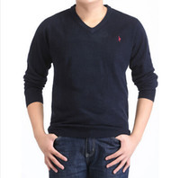 Wholesale Horse Flats - Embroidered horse Men's European and American classic casual VV-neck sweater 17 colors M-XXXL