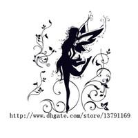 tanz entfernbare wandaufkleber großhandel-Tanzen Fairy Ballerina Silhouette Peel und Stick Removable Wall Decals Mädchen Wandaufkleber für Schlafzimmer Wohnzimmer