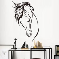 Wholesale Wall Stickers Horses - head of horse DCTOP Hot Sale Vinyl Removable Decal Head Of Horse Wall Sticker Wall Murals Living Room Decorative Animal Home