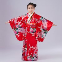 Wholesale Japanese Christmas Costume Girl - Free Shipping New Child Novelty Cosplay Floaral Dress Japanese Baby Girl Kimono Dress Children Vintage Yukata Kid Girl Dance Costumes