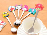 Wholesale Cute Stainless Steel Spoon - Lovely silicone handle stainless steel spoon Cartoon cute milk and coffee mixing spoon Multi style of kids tableware