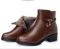botas de nieve rhinestones al por mayor-La mayoría de las mujeres populares Rhinestones zapatos de moda mujer botas de tobillo más el tamaño 2018 invierno cálido Cómodo botas de nieve de lana zapatos de cuero genuino