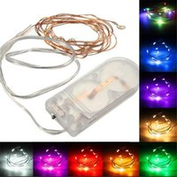 Wholesale 12v Led Lights Multicolor - LED Strings Waterproof 1M 10 LEDS Battery Power Operated Multicolor Copper Cable Wire Fairy LED String Light Party Wedding Decor