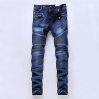 Wholesale Motorbike Jeans - Wholesale- Blue Motorbike Jeans Men's Slim Biker Jeans Casual Plus Size Denim Cargo Pants Fashion Ripped Man Paris Straight Fit #003
