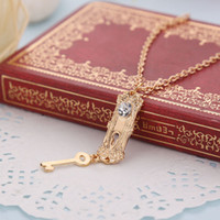 Wholesale golden chain jewelry - Alice in Wonderland necklace diamond Golden Key lock Pendant Necklaces for women Movie statement jewelry Christmas gift Drop Ship 160564